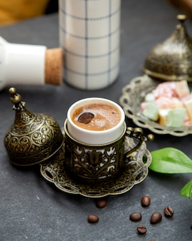 Turkish coffee served in ornated cup