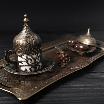 Turkish cup of coffee on silver plate