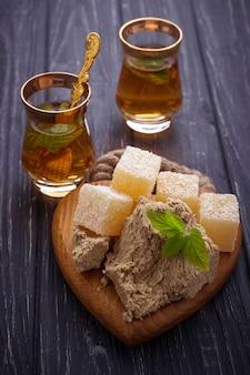 Turkish delight, halva and tea.