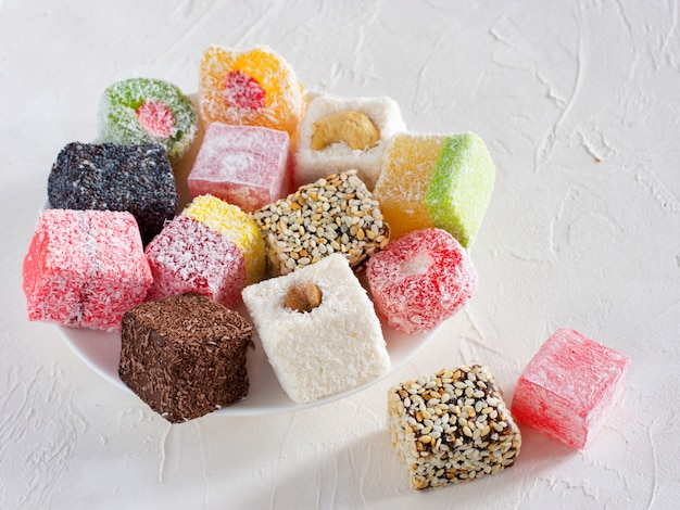 Turkish delight on white rustic