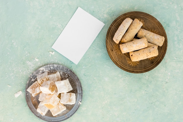 Turkish delight with cookies and small paper