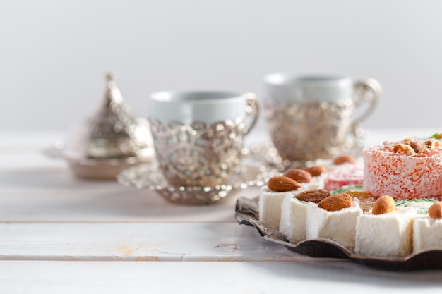 Turkish delight on a wooden surface table