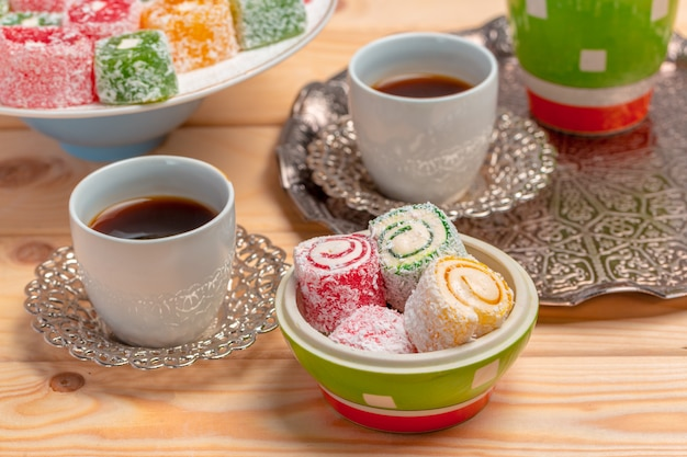 Turkish delight on a wooden table