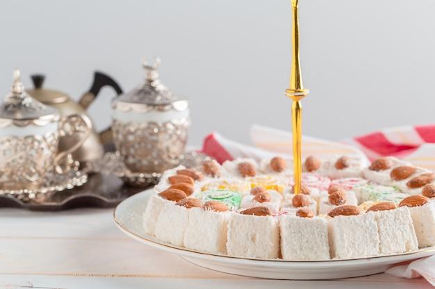 Turkish delight on wooden table