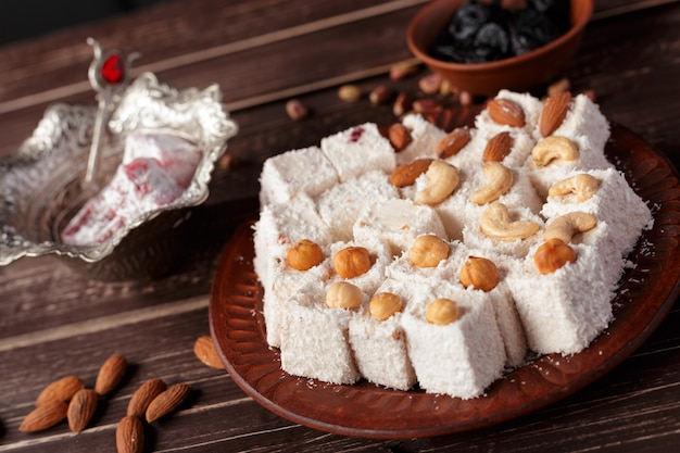 Turkish delight on a wooden table,