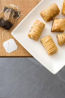 Turkish dessert baklava on wooden table