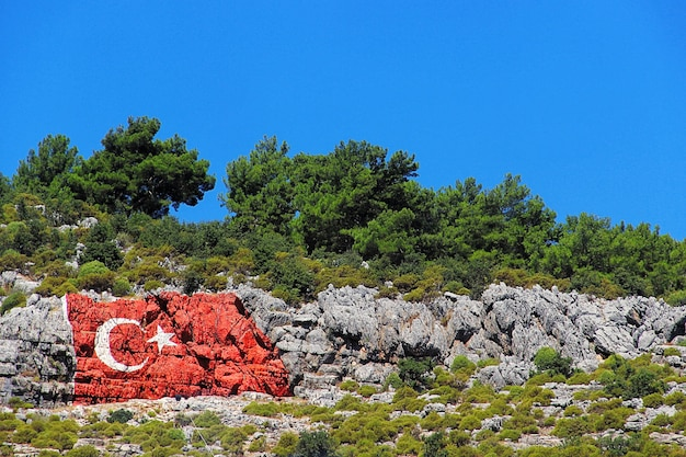 Turkish flag on the rock