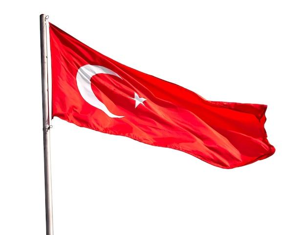 白で隔離の手を振るトルコの旗
