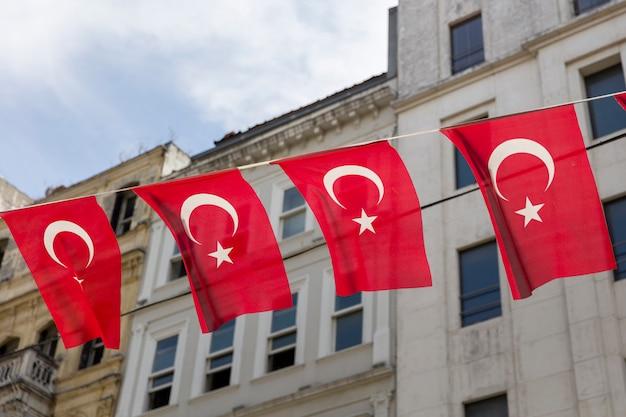 Turkish flags on the street of istanbul, turkey