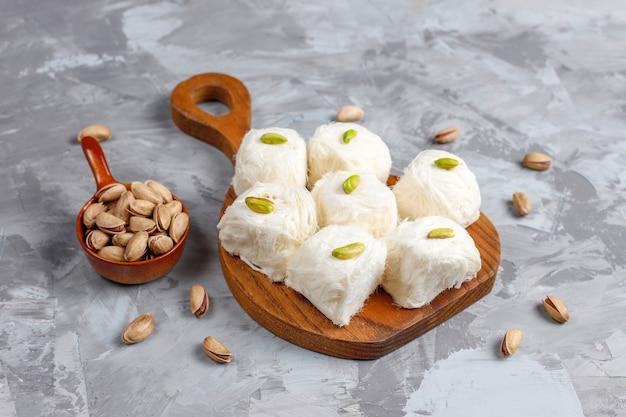 Turkish floss halva pishmanie,cotton candy dessert.