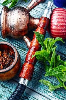 Turkish hookah with mint