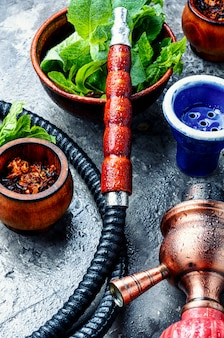 Turkish hookah with mint