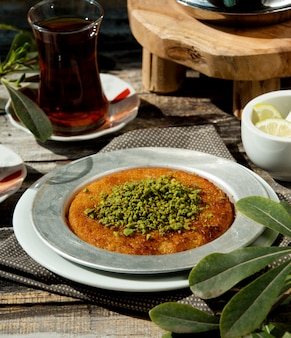 Turkish kunefe garnished with pistachio