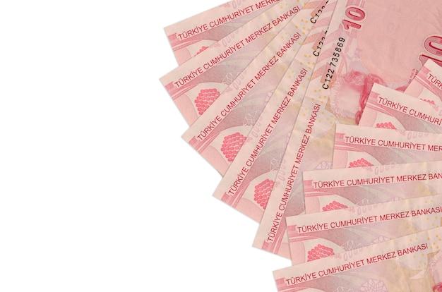 Turkish liras bills lies isolated on white