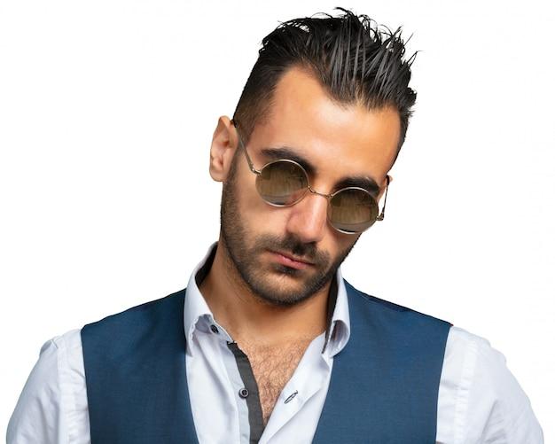 Turkish macho man model posing isolated on white