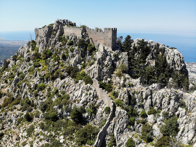 The turkish part of north cyprus. great view from above, mountain and castles around. created by drone.