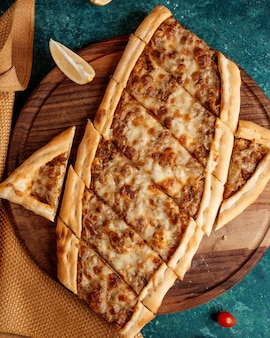 Turkish pide with cheese and meat