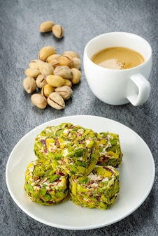 Turkish pistachio delight and cup of coffee