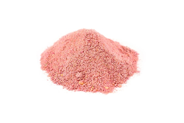 Turkish powdered fruit tea. heap of instant drink on a white background.