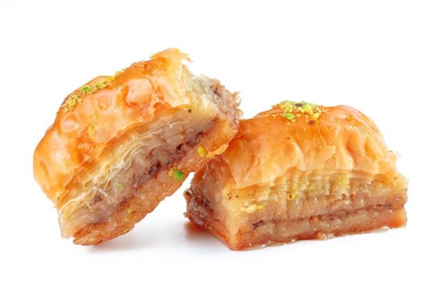 Turkish ramadan dessert baklava isolated on white