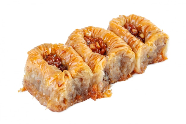 Turkish ramadan dessert baklava isolated on white