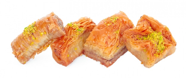 Turkish ramadan dessert baklava isolated