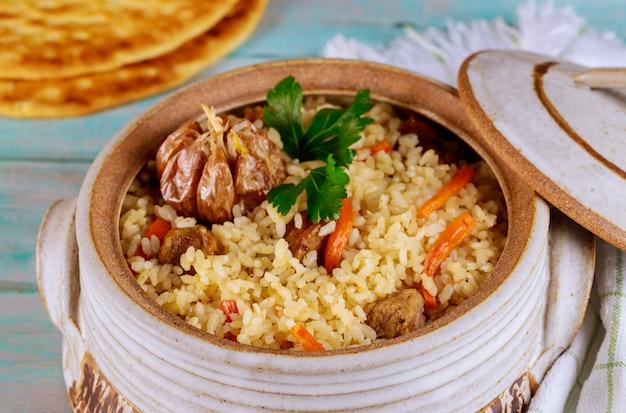 Turkish rice with vegetable and meat.