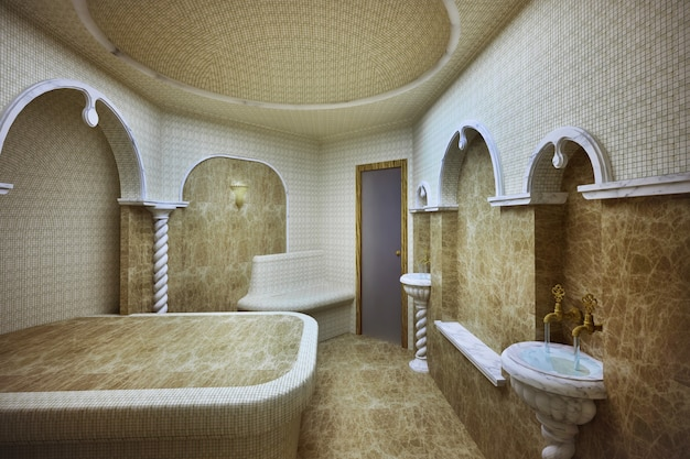 Turkish steam room made of marble and mosaics
