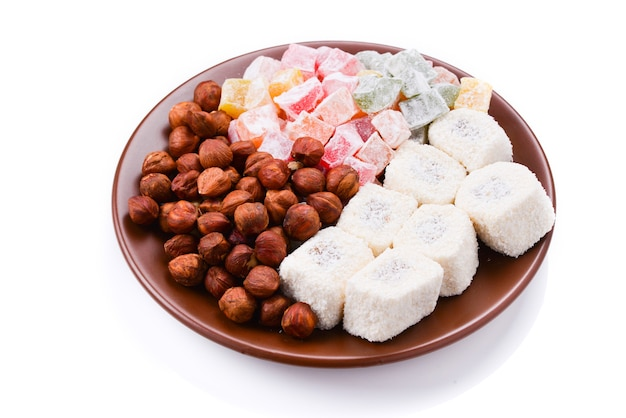 Turkish sweet baklava on plate