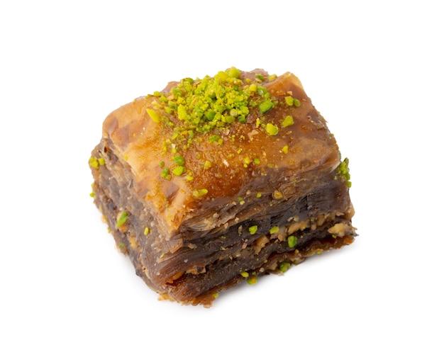 흰색 배경에 고립 된 터키 달콤한 과자 바클 라바