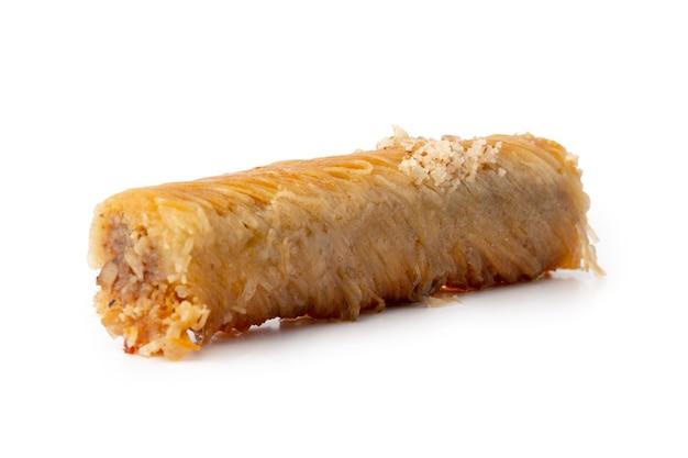 Turkish sweet pastry baklava isolated on white background