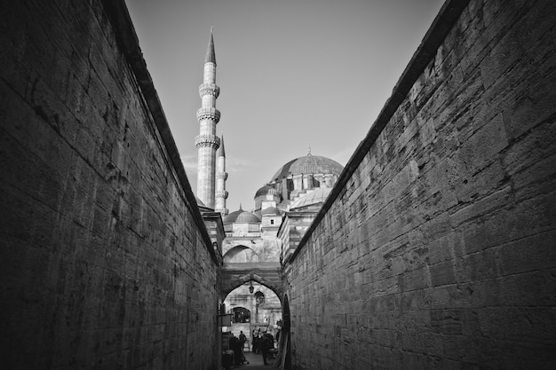 Turkish workers strolling through the walls of the mosque of hagia sophia