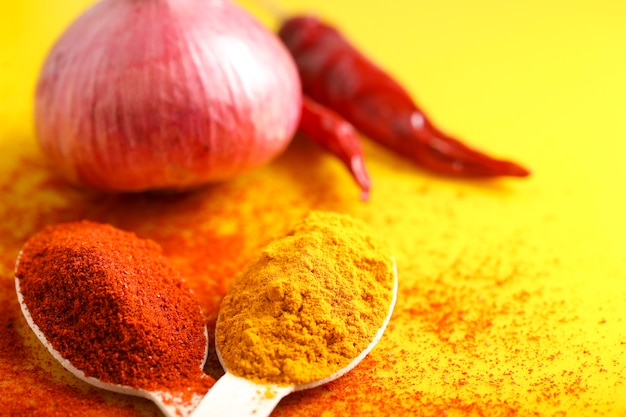 Turmeric and chilly powder in spoon close up