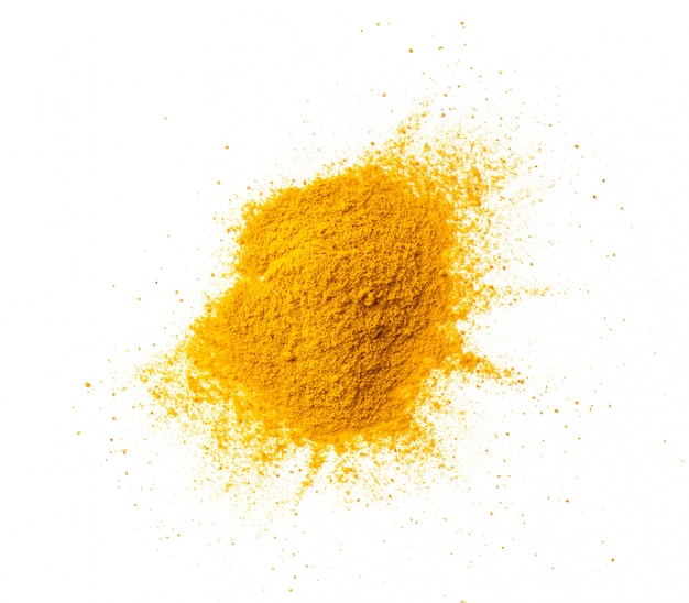 Turmeric (curcuma) powder pile isolated on white