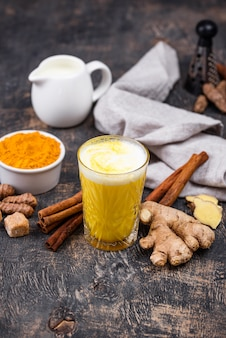 Turmeric golden milk with spices