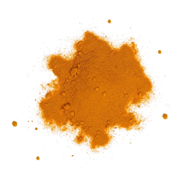 Turmeric powder isolated on white background.top view