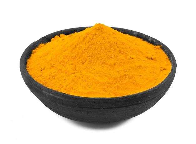Turmeric powder on white background