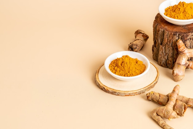 Turmeric powder on white cup