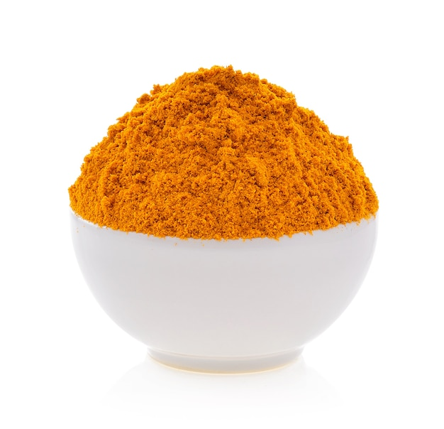 Turmeric powder on the white