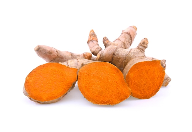 Turmeric root isolated on white background