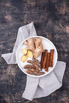Turmeric roots, cinnamon and ginger