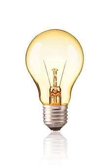 Turn on tungsten light bulb  realistic photo image