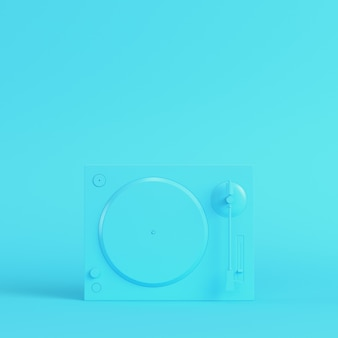 Turntable on bright blue background in pastel colors. minimalism concept. 3d render
