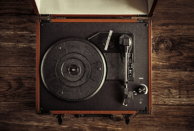 Turntable on old wood