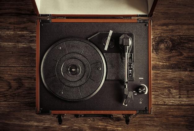 Turntable on old wood