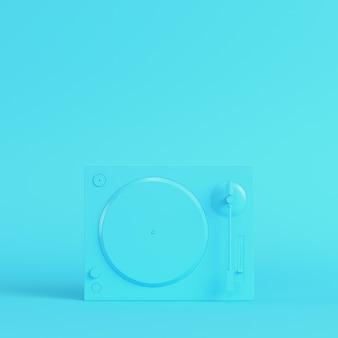 파스텔 색상의 밝은 파란색 배경에 턴테이블입니다. 미니멀리즘 개념입니다. 3d 렌더링