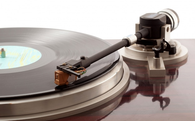 Turntable on white