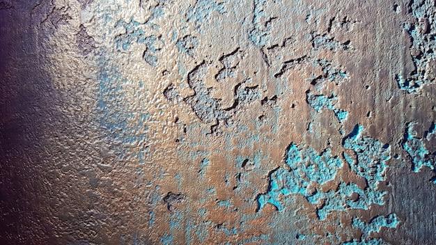 청록색과 황금색 지저분한 벽 치장 벽토 질감 배경입니다. 벽 장식용 페인트.