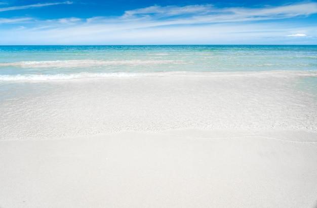 Бирюзово-синее море с белым песком и солнечным небом