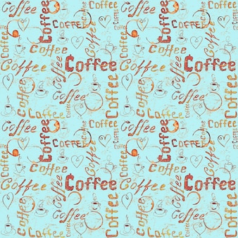 Turquoise coffee seamless pattern with lettering, hearts, coffee cups and cups traces